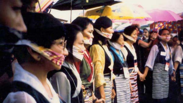 Beijing, September 1995: Nine exiled Tibetan women staged a silent protest at the United Nations World Conferenc on Women held in Beijing.